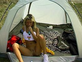 Josje masturbates in her tent