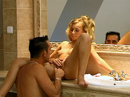 Alex fucks her boyfriend in the bathroom