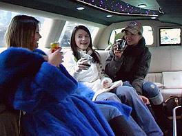 Three horny girls in a limo
