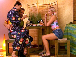 Threesome at a Japanese restaurant