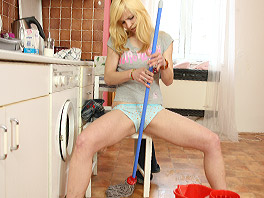 Cleaning girl in a horny mood