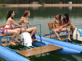 Four girls, two water bikes