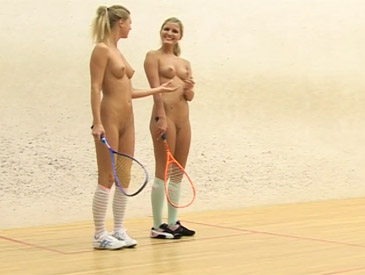 Young blonde lesbians going wild in squash hall