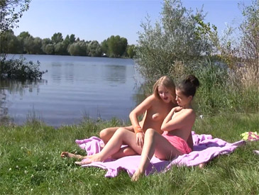 Hot lesbians having sex at the lakeside