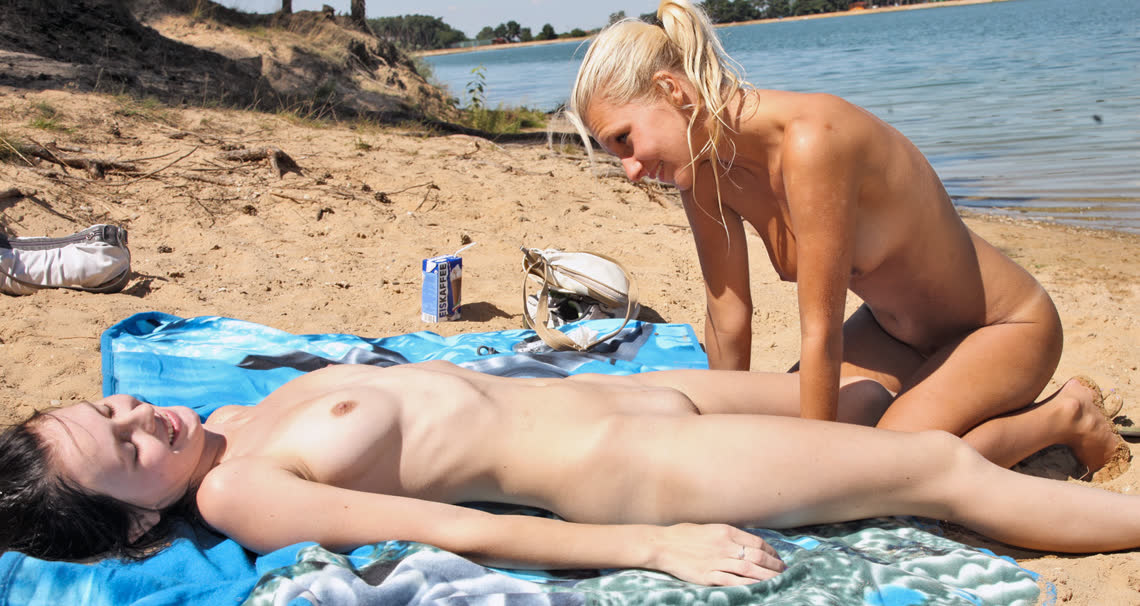 Sara and Ester fucking on public nude beach