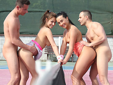 Horny mixed double tennis match
