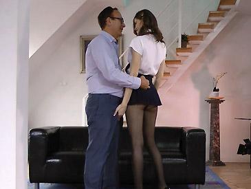 Sexy school girl flattens Jimbo