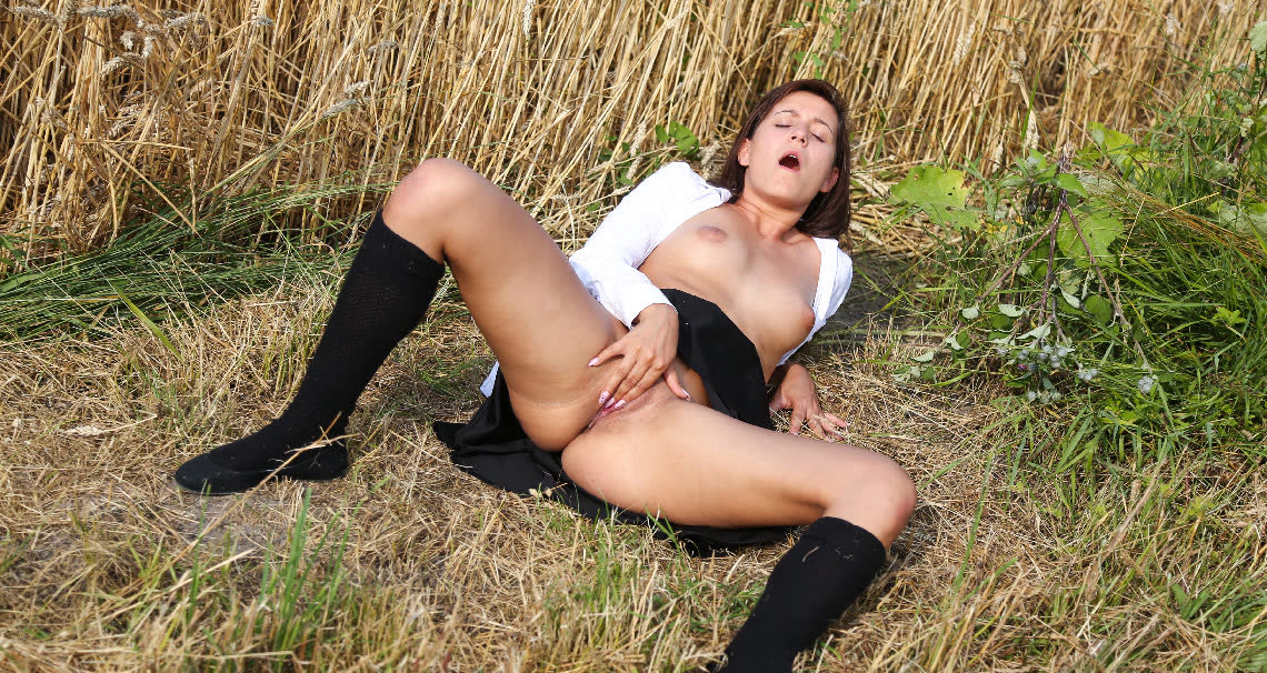 Masturbating in a field of wheat