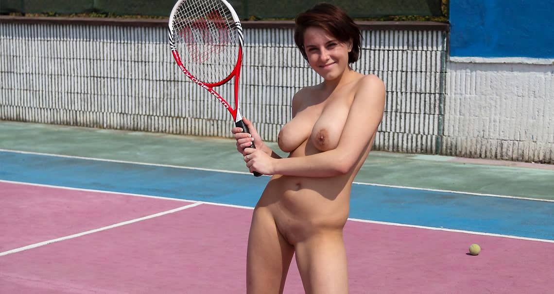 Busty tennis babe