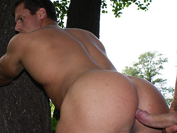 Hardcore gay action in a public park