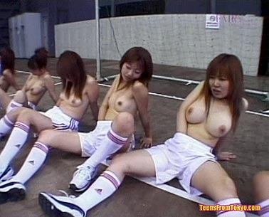 Masturbating with her team mates