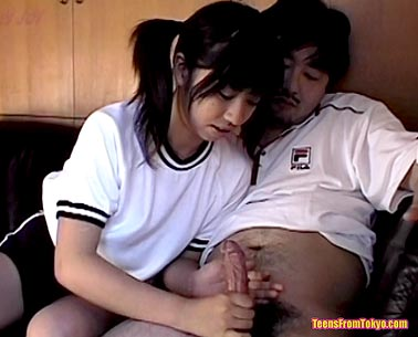 Schoolgirl giving a handjob